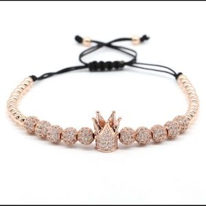 Jewelry - New Fashion Rose Gold CZ Balls Crown Bracelet